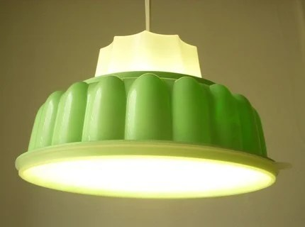 Upcycled Recycled Tupperware TupperLight Retro Mint Green Jell-O Mold Hanging Pendant Light Fixtures