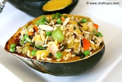 Stuffed Acorn Squash with mixed rice Pilaf