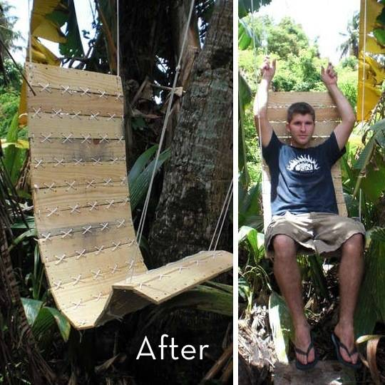 hanging wood pallet swing chair