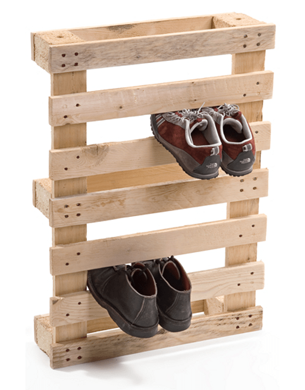 DIY Idea Make a Mudroom Shoe Rack from Pallets  Curbly  DIY Design  Decor