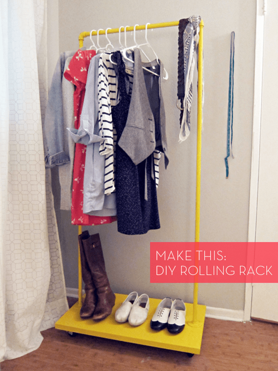 How To Make a Colorful DIY Rolling Clothes Rack for Cheap  Curbly  DIY Design  Decor