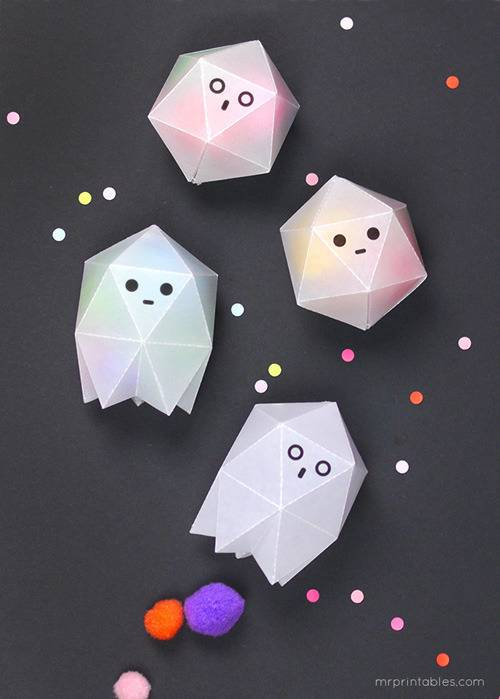 Geometric Ghost Boxes for Halloween Treats
