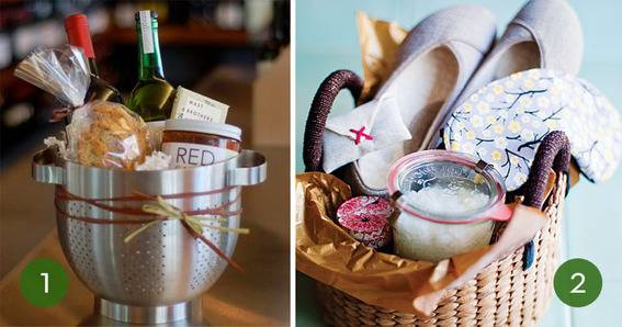 colander gift basket, with wine and pasta