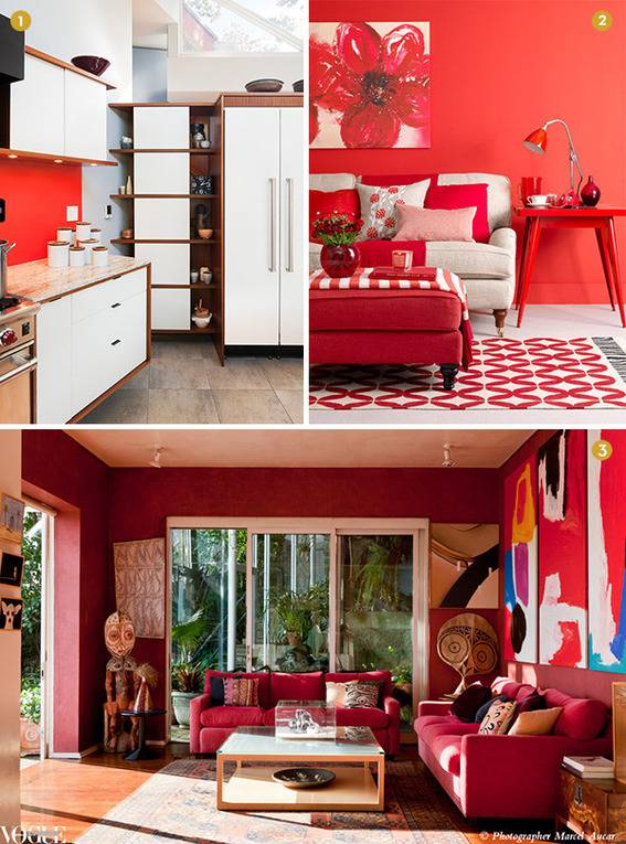 Rooms and kitchens with red walls.