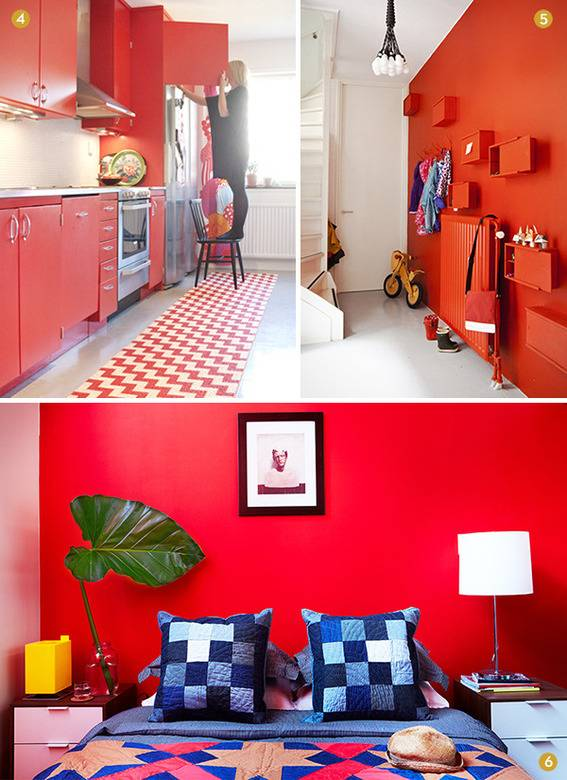Red walls in a kitchen, entryway, and bedroom.