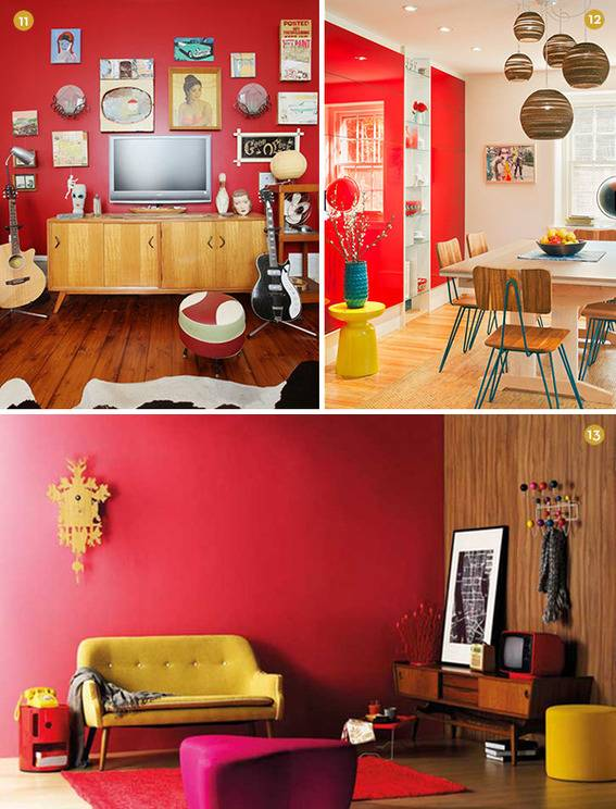 Modern red dining room and living room.