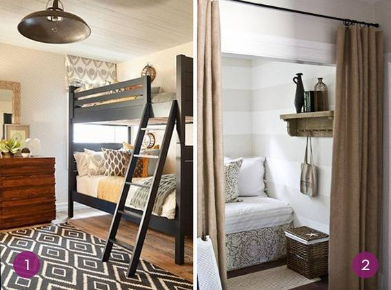 Grown up bunk beds, and a striped bed nook hidden behind a curtain.