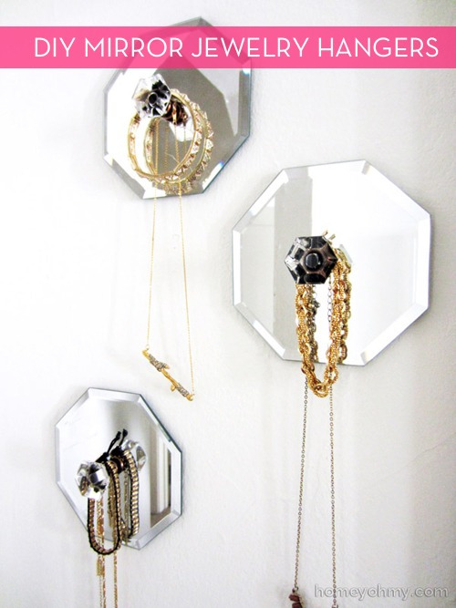 mirrors become jewelry wall hangers
