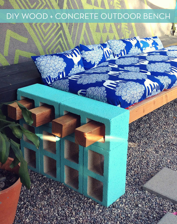 How to make a stylish outdoor bench from cinder block 187 curbly