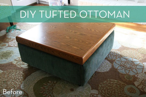Coffee table becomes tufted ottoman