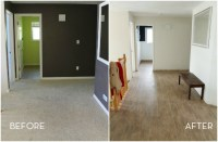 Before and After: DIY Faux Wood Flooring Replaces Outdated ...