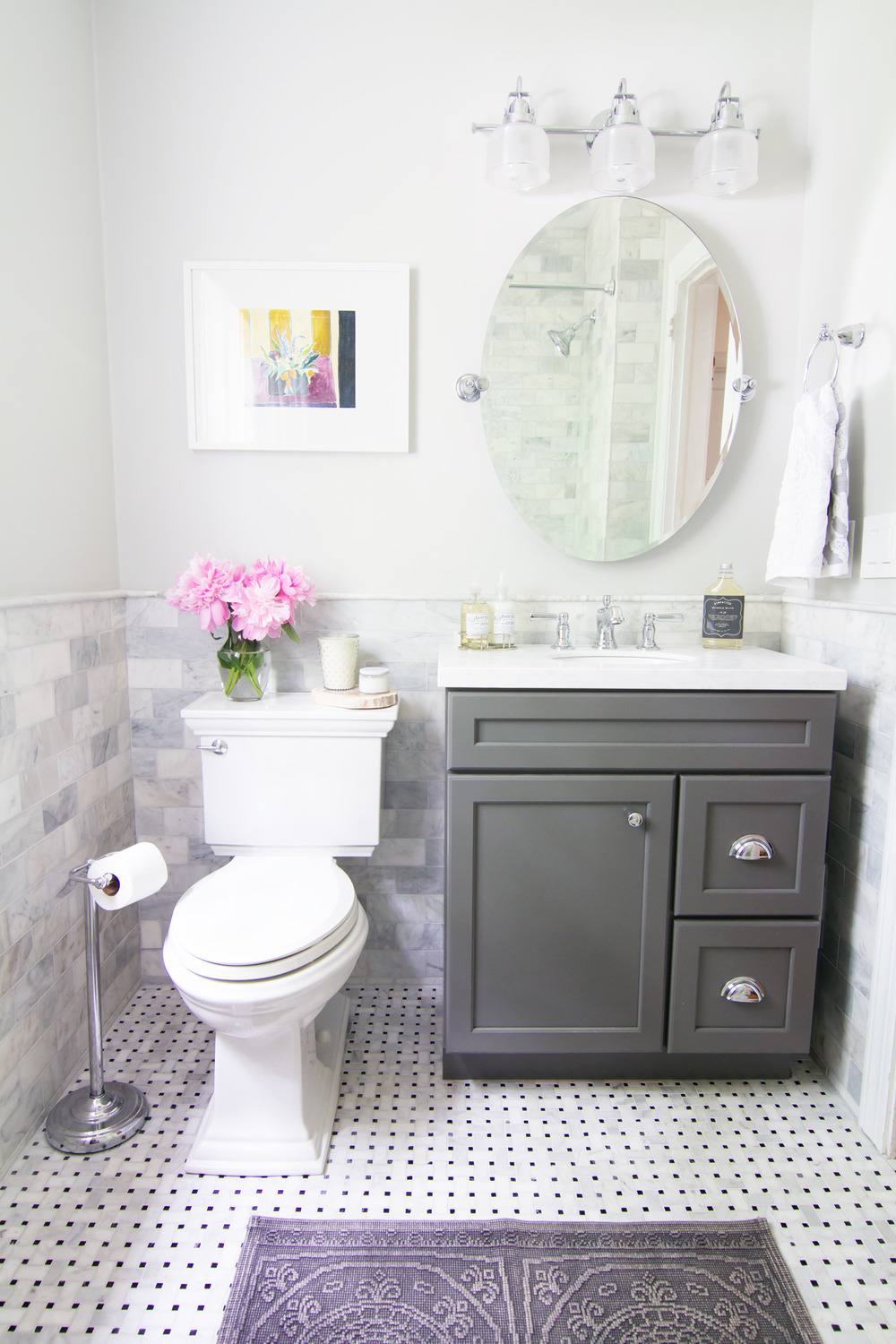 After - Classic Marble and Chrome Bathroom