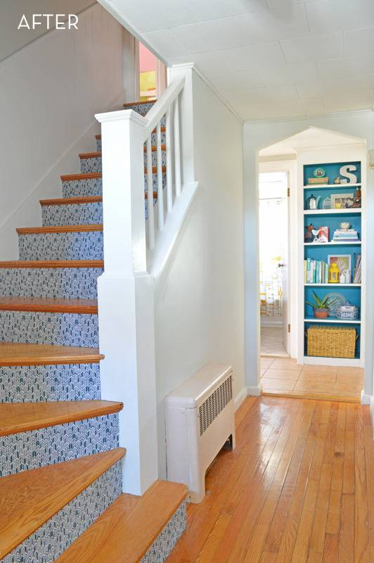 fabric covered stairs