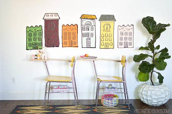 diy colorful rowhouse wall art