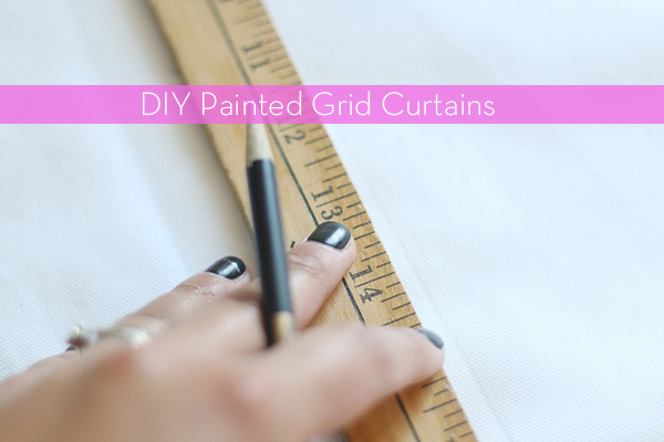 DIY Painted Grid Curtains | Hello Lidy for Curbly