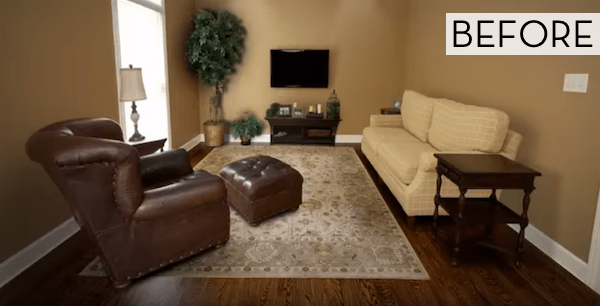 Before and After 30 Second Family Room Makeover  Curbly