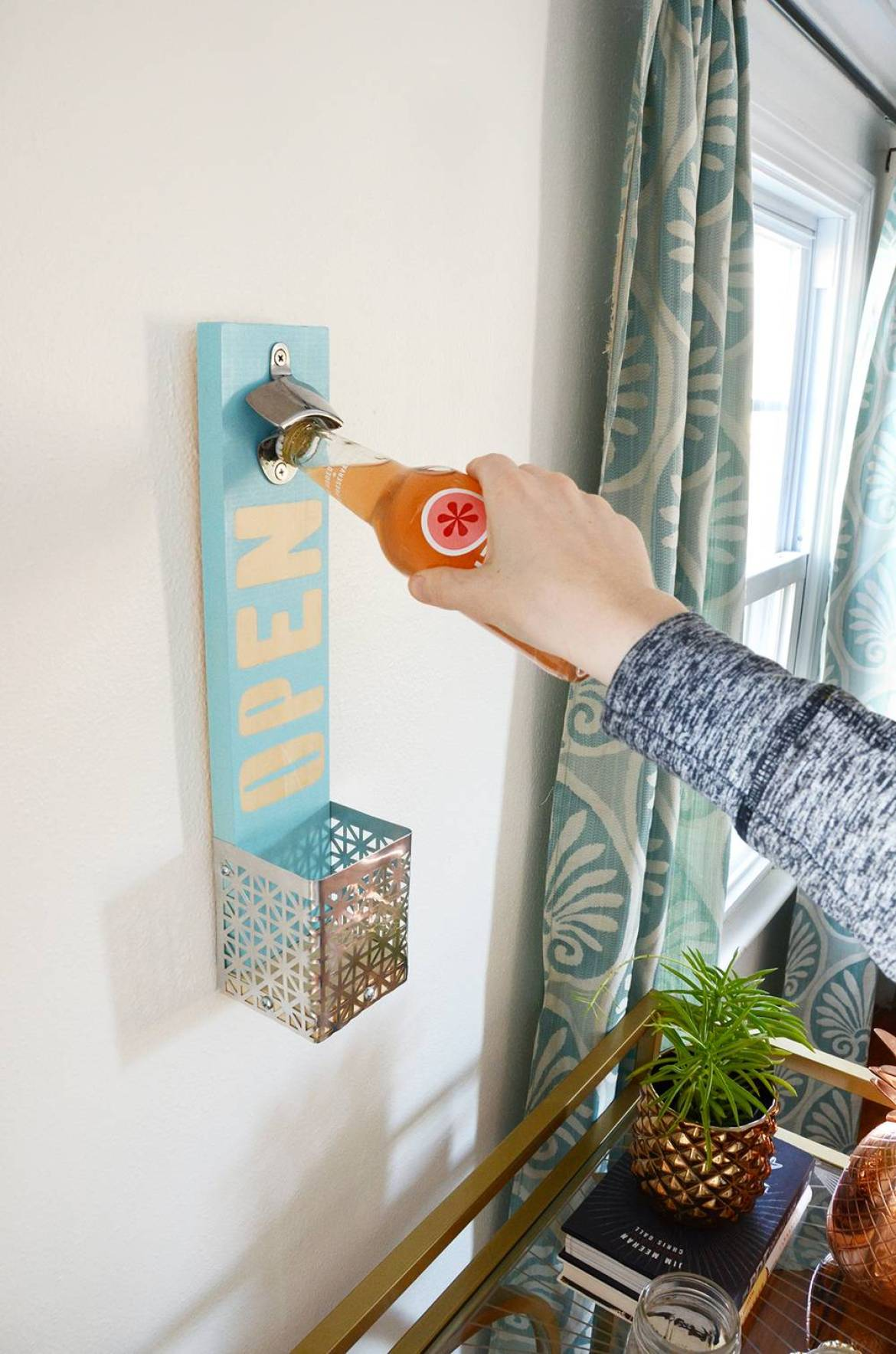 Finished wall mounted bottle opener - used for taking caps off glass bottles