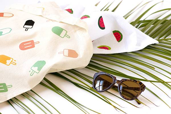 Detail shot of popsicle tote and watermelon towel