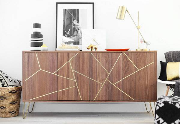 DIY brass geometric inlay IKEA sideboard makeover