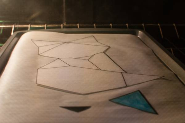 step 6.1 for faux fused glass geometric fox