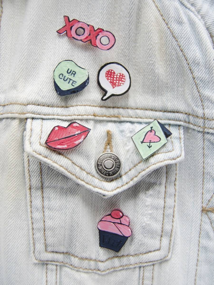 Valentine's Day is just around the corner - make these cute pins using shrink paper!