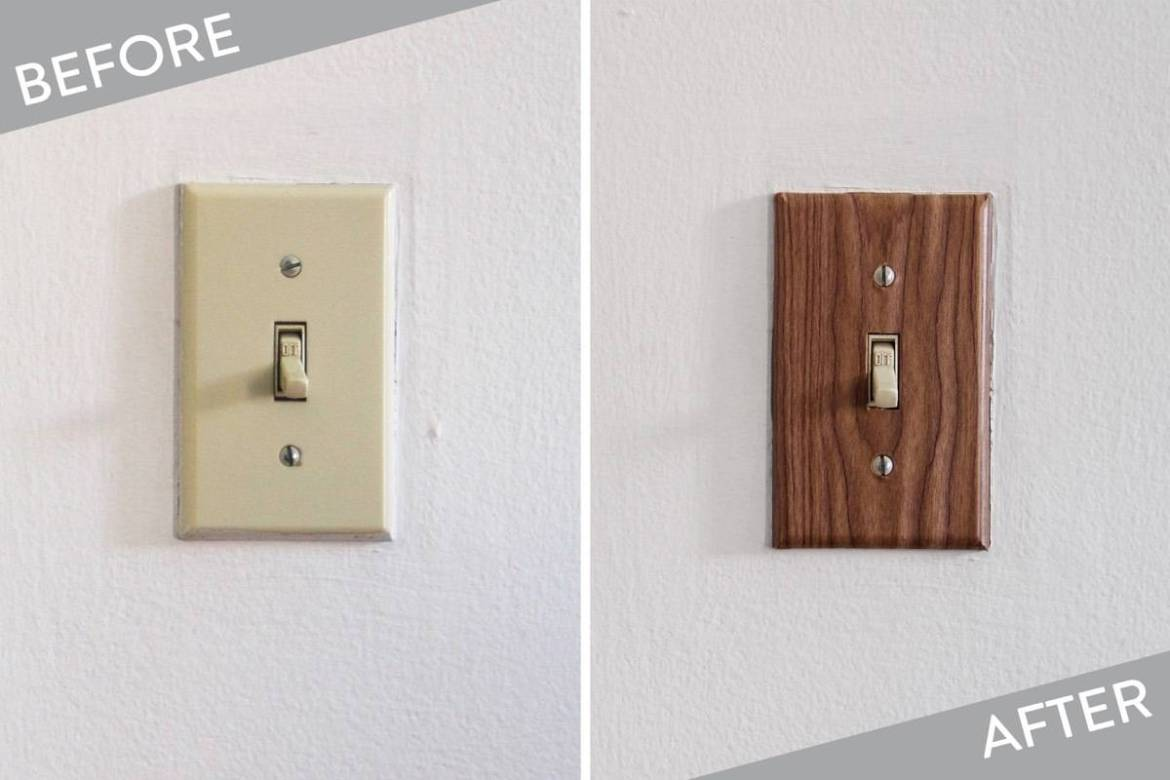 Light switch plate covered in contact paper
