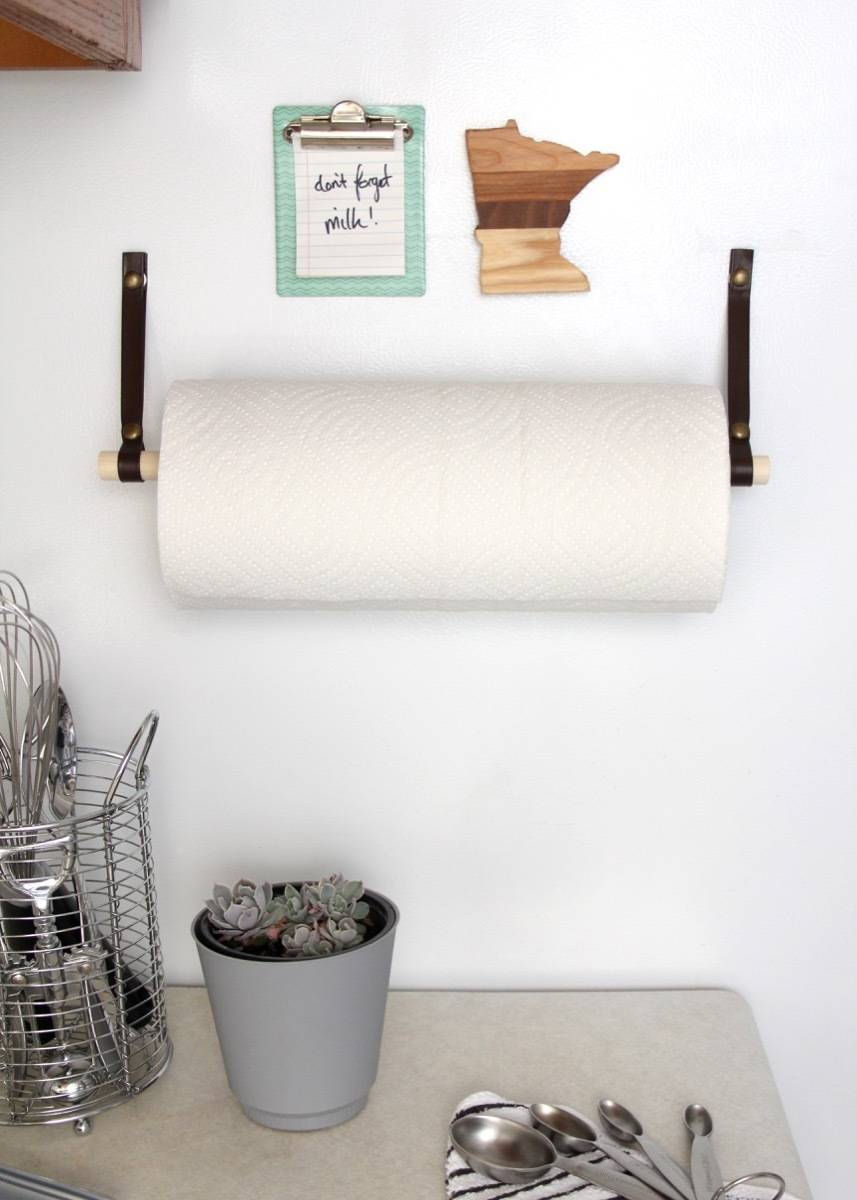 Make this simple magnetic paper towel holder to save on kitchen counter space