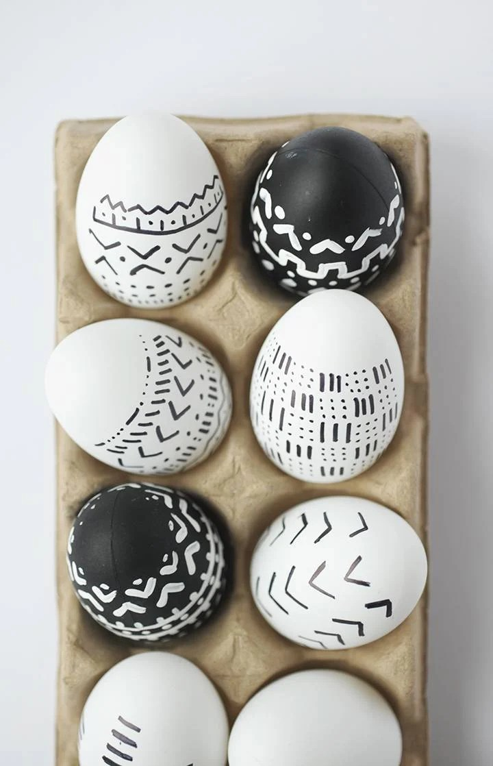 Black and white line drawn eggs