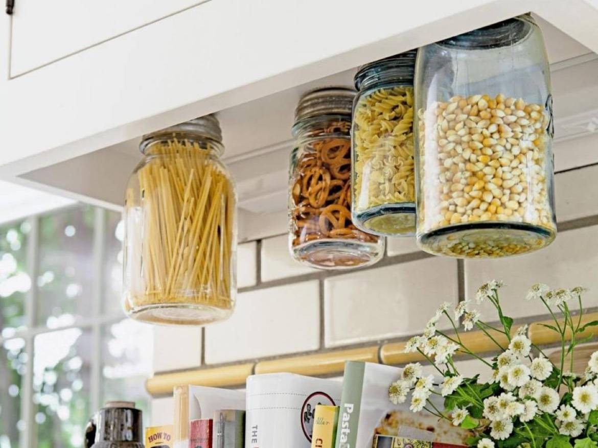 Airtight containers above the countertop | 72 Organization Tips and Projects for Every Space in Your Home