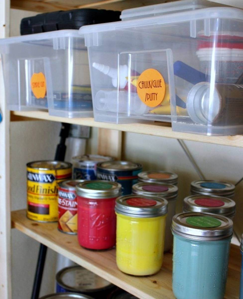 Keep touch-up paint in easy-to-mix wide-mouth jars | 72 Organization Tips and Projects for Every Space in Your Home