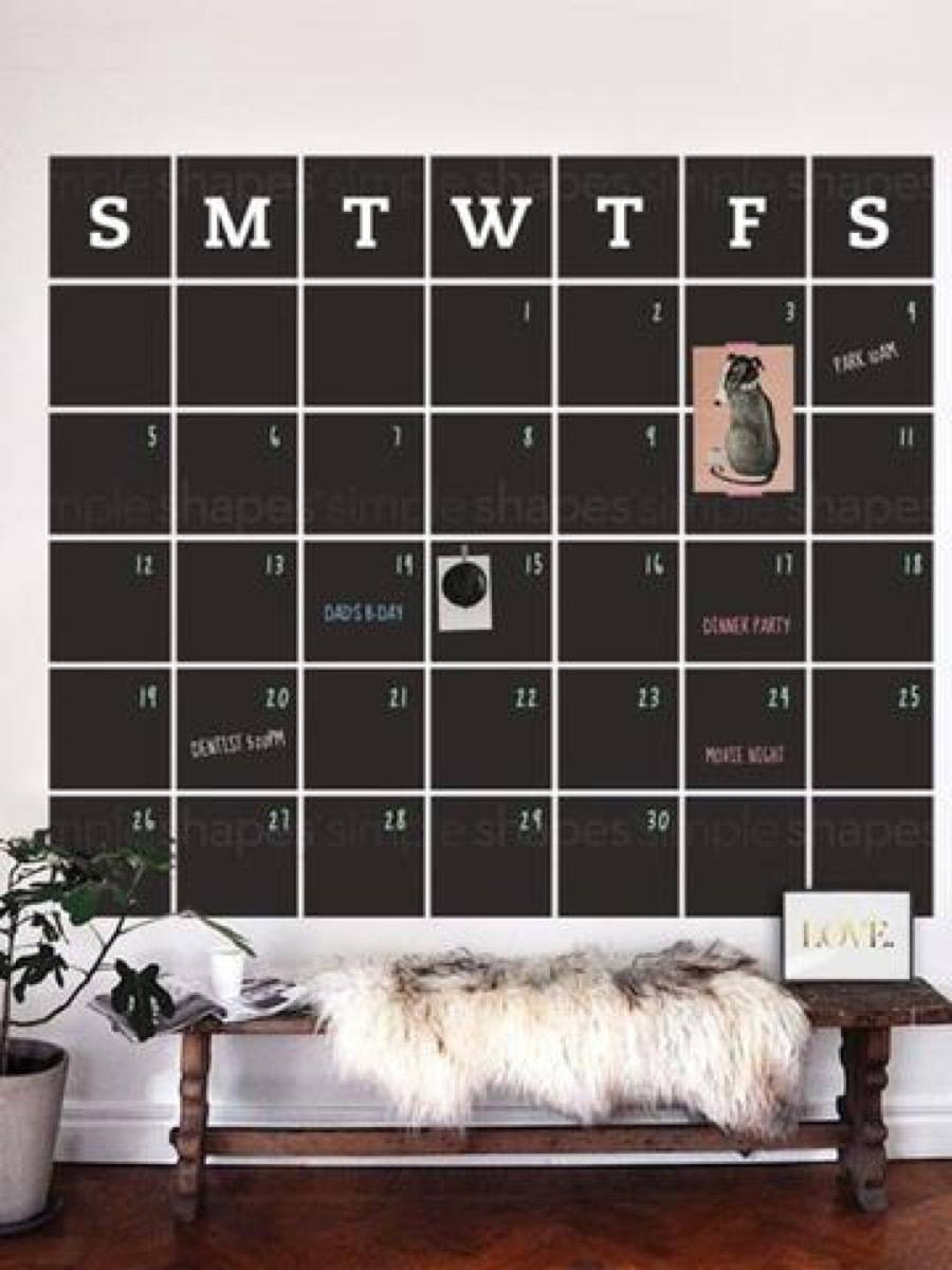Giant Calendar | 72 Organization Tips and Projects for Every Space in Your Home