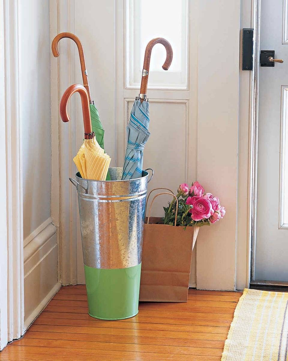 Bucket Umbrella Stand | 72 Organization Tips and Projects for Every Space in Your Home