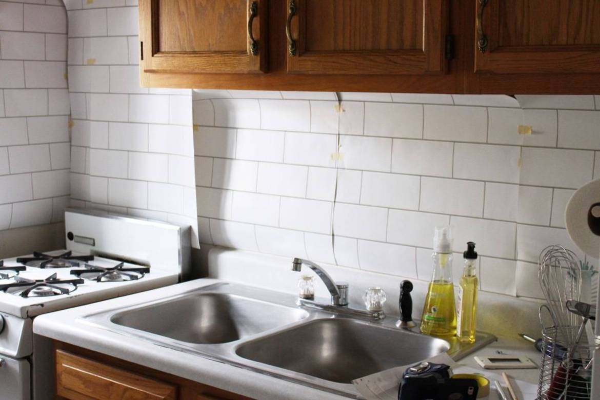 How to install removable wallpaper into your rental kitchen: Step 1