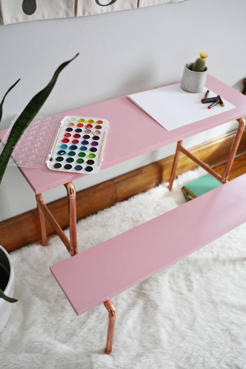 Desk idea from A Beautiful Mess | 75 DIY Kids Decor Ideas