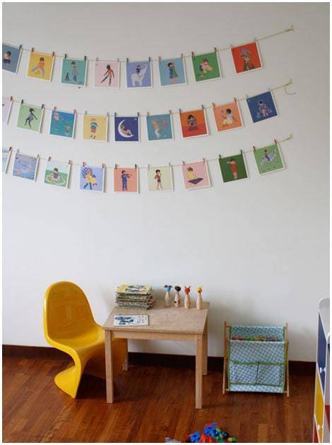 Wall art idea from Apartment Therapy | 75 DIY Kids Decor Ideas