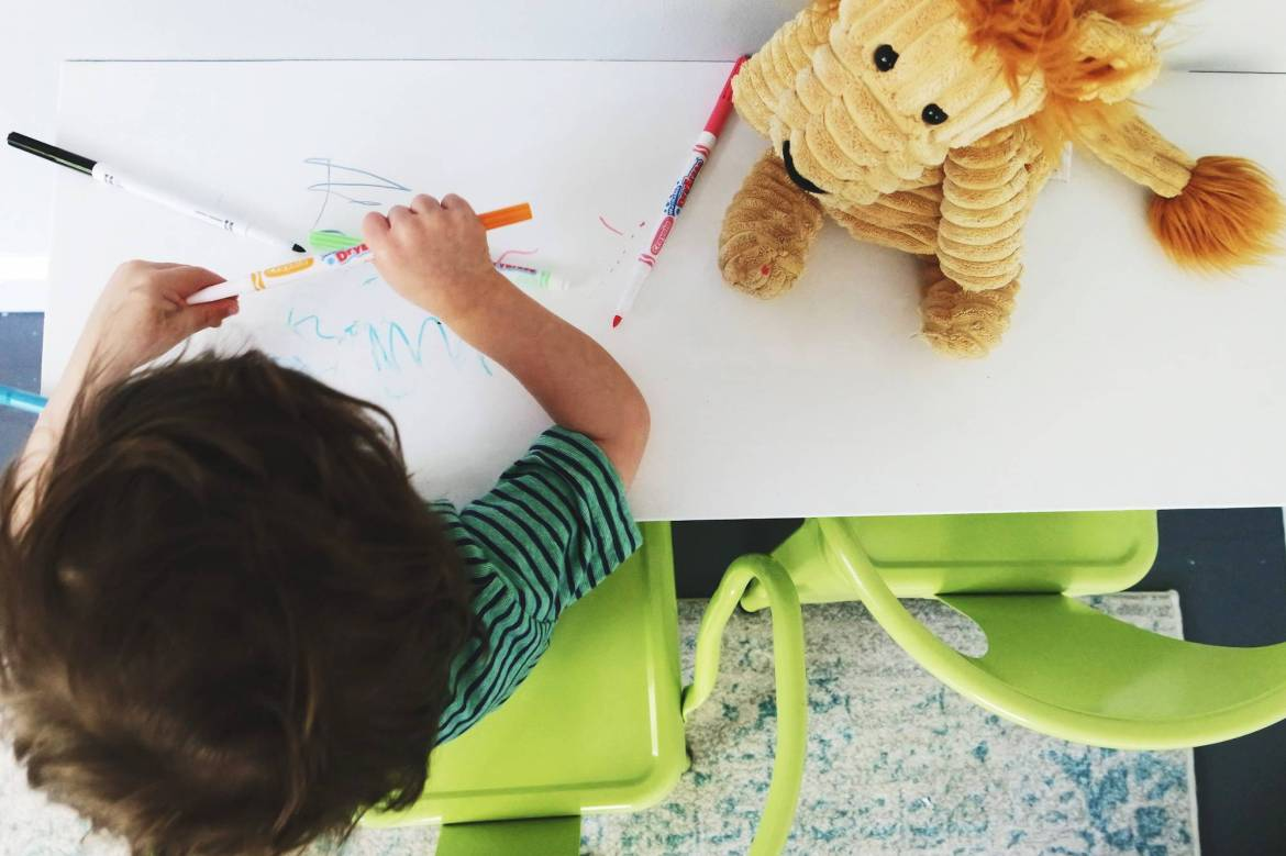 Using Sketch Pad paint from Sherwin-Williams, we were able to create a desk that our toddler could draw all over!