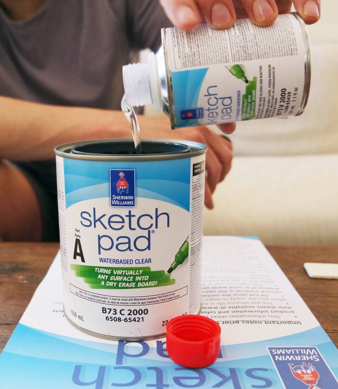Mixing up our Sketch Pad paint from Sherwin-Williams.