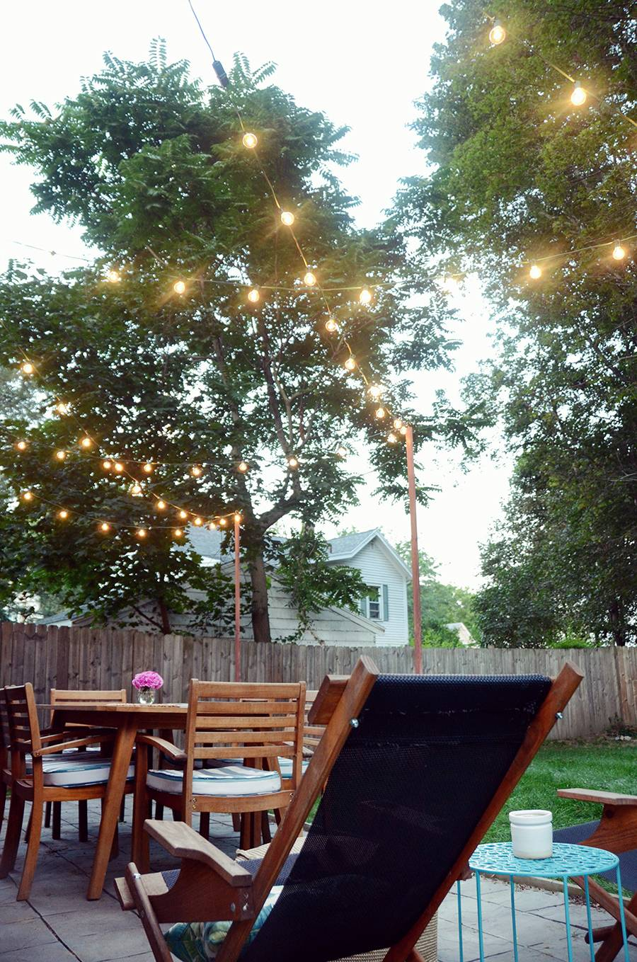 DIY Bistro Light Posts For Your Patio