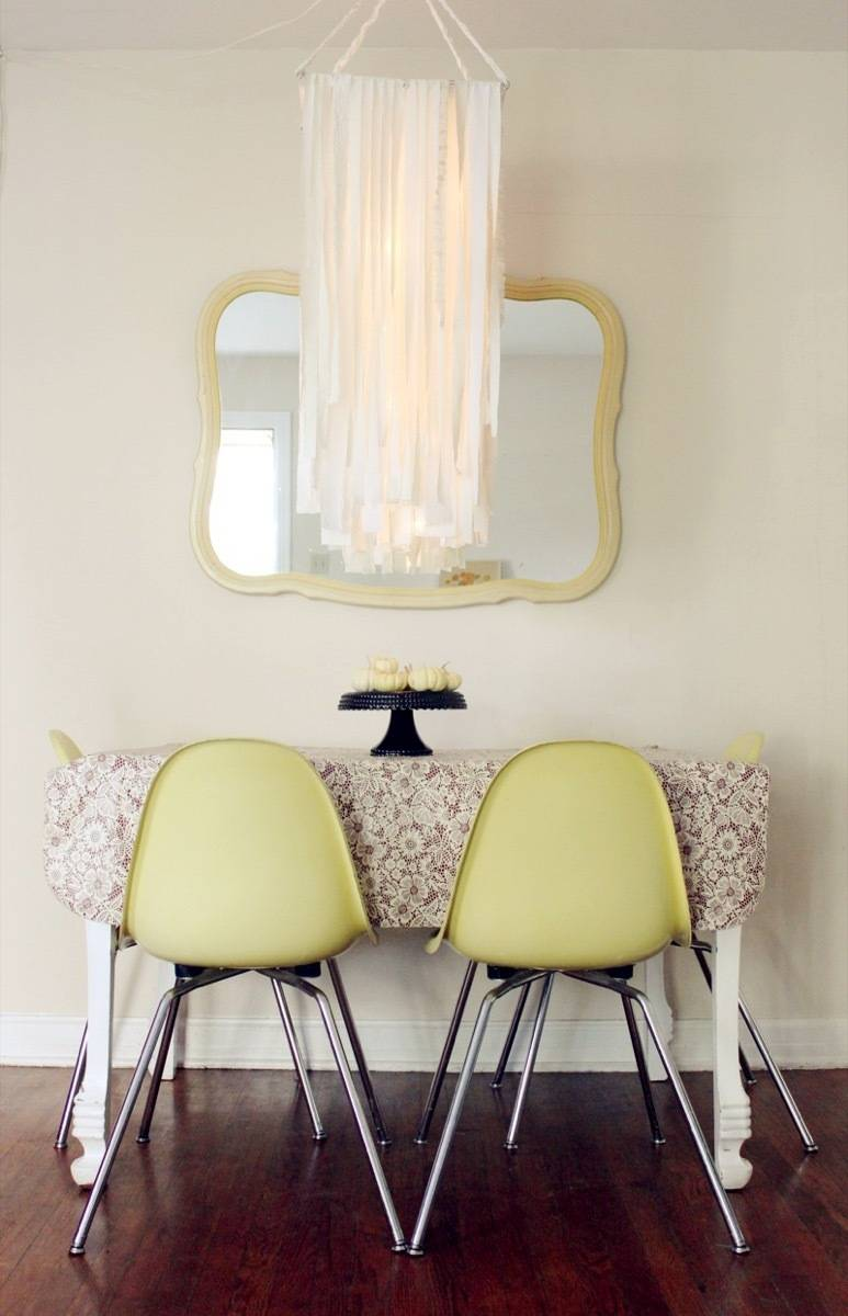 99 ways to use fabric to decorate your home   Fabric chandelier