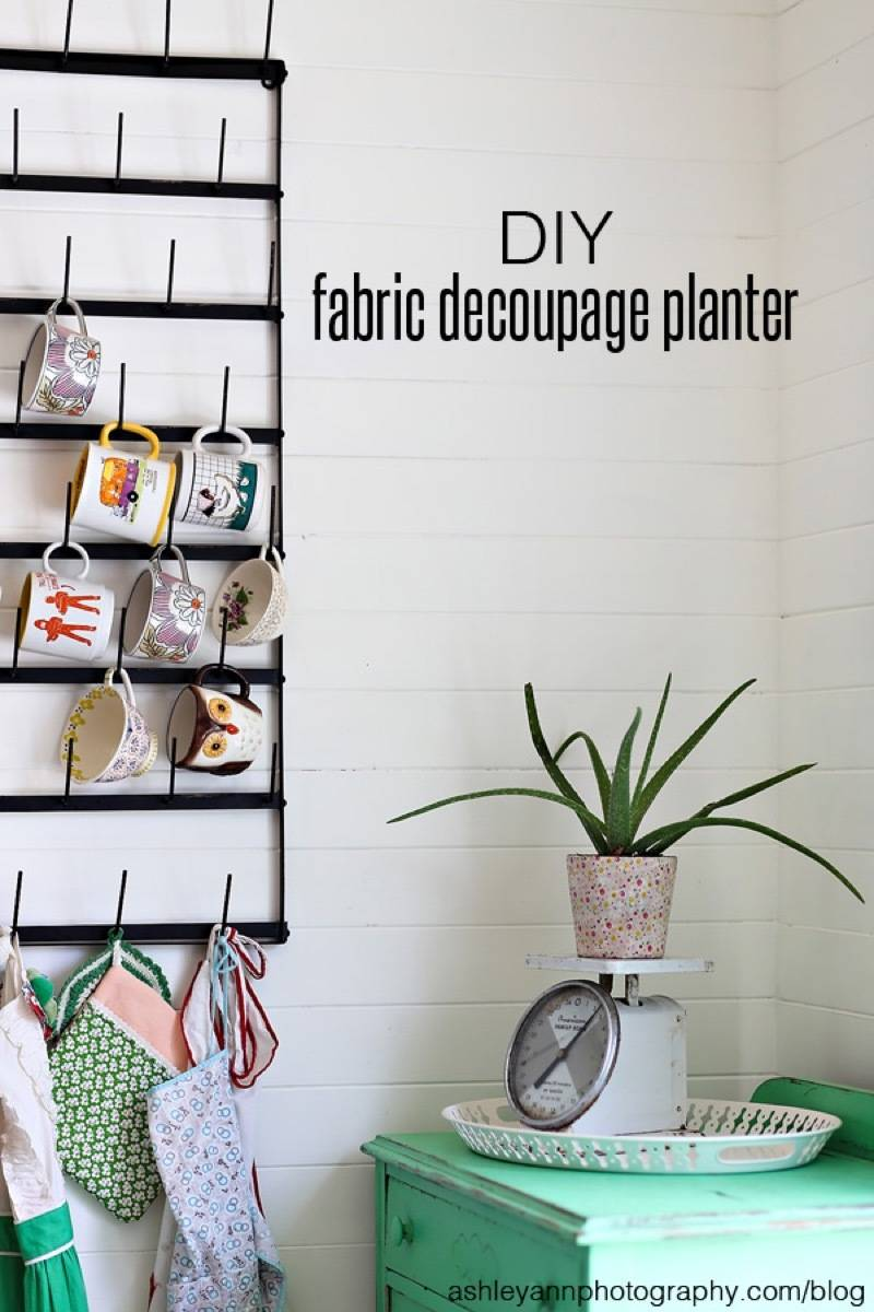 99 ways to use fabric to decorate your home   Decoupaged planter