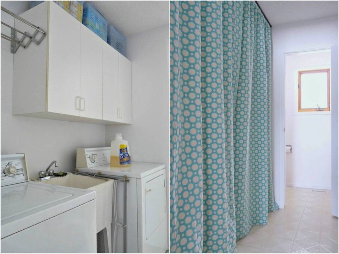99 ways to use fabric to decorate your home   Laundry hideaway curtain