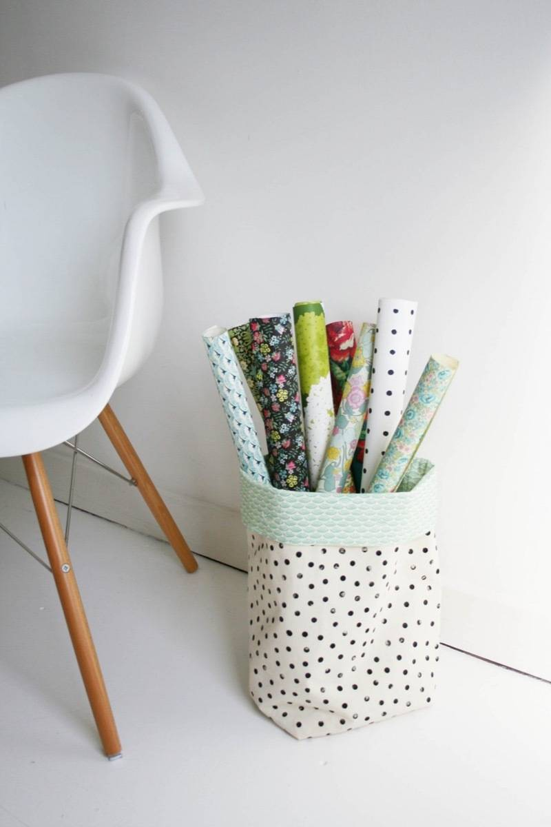 99 ways to use fabric to decorate your home   Fabric bins