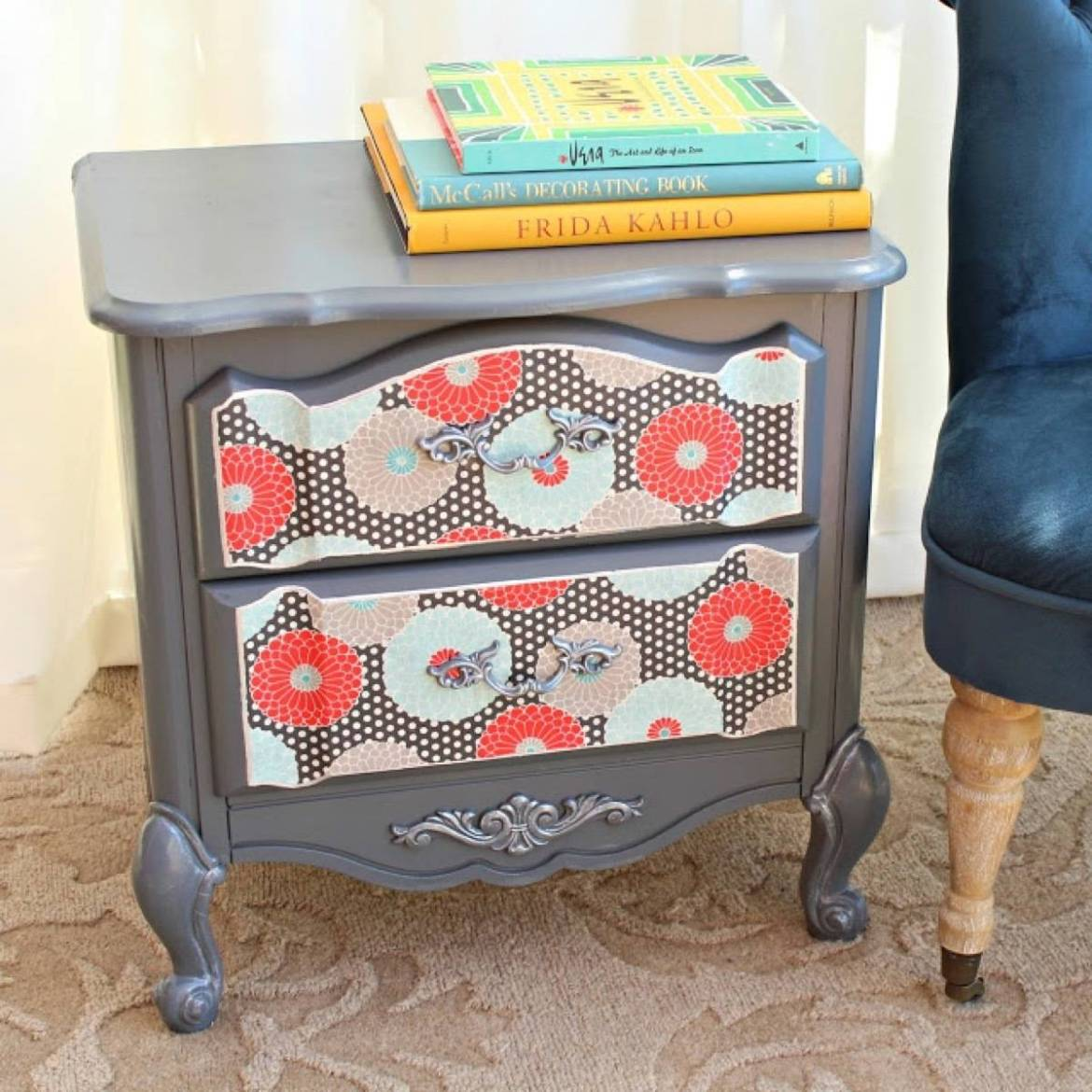 99 ways to use fabric to decorate your home   Updated nightstand