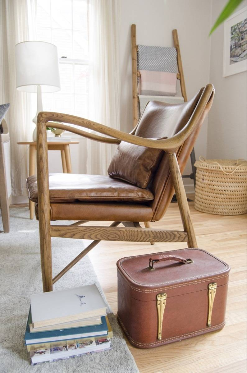 Leather swoop back chair