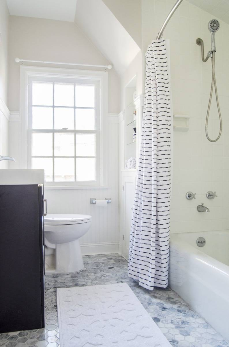 Curbly House bathroom, after, wide shot, black and white color palette