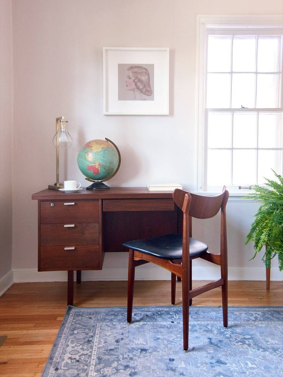 MCM desk and chair in office, styling ideas