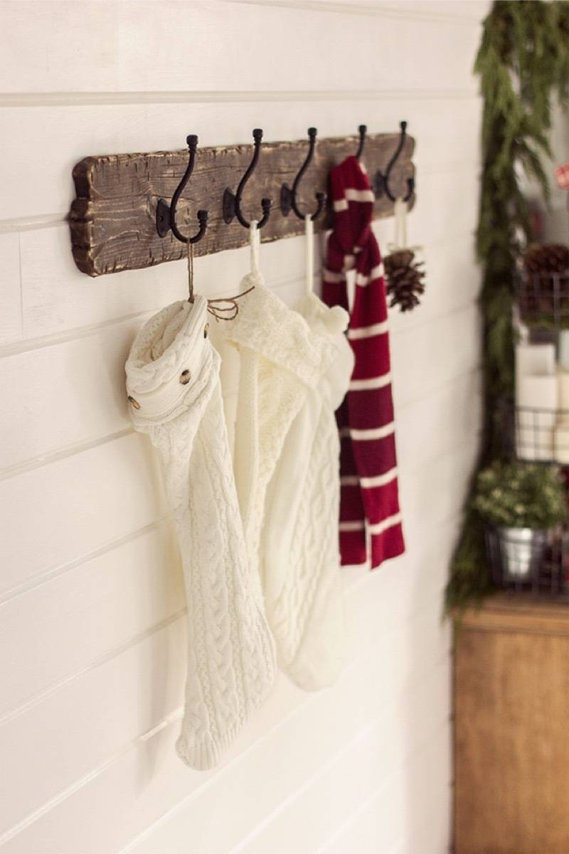 place stockings on a coat rack