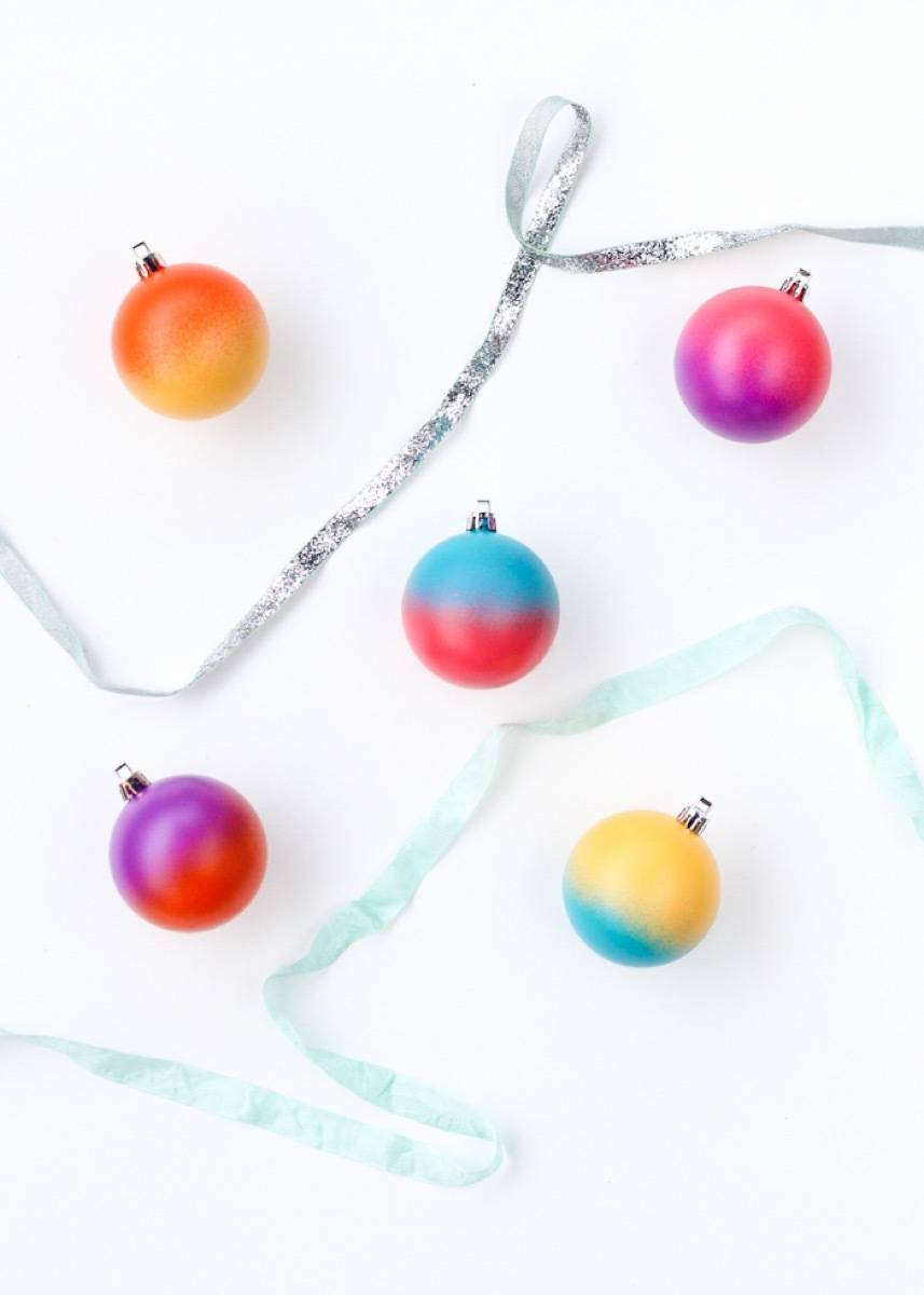 Spray painted color block ornaments
