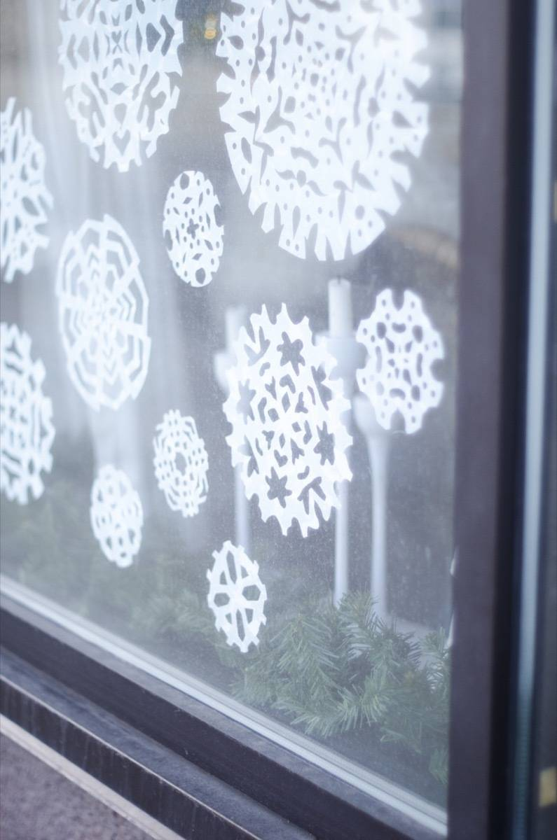 DIY window decals - Snowflakes made from shelf liner