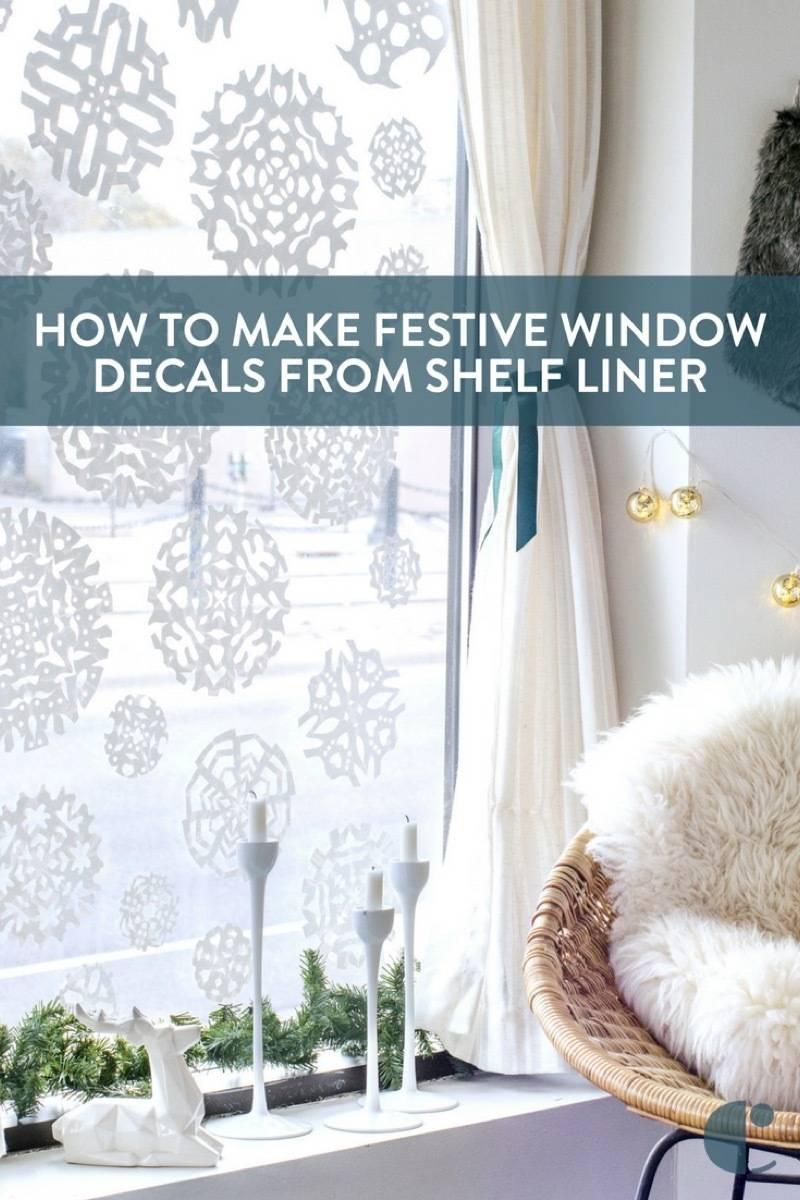 These aren't regular paper snowflakes! These are vinyl wall decals you can make right at home, using... shelf liner?!